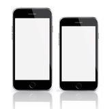 Mobile smart phones with white screen isolated on white background. Royalty Free Stock Photography