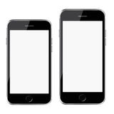Mobile smart phones with white screen isolated on white background. Stock Photos