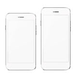Mobile smart phones with white screen isolated on white background. Stock Image