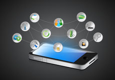Mobile smartphone, app symbols and its functions Stock Photography