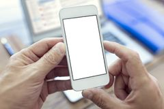 Mobile smartphone with blank white screen royalty free stock image