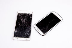 Mobile smartphone with broken screen Stock Photography