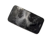 Mobile smartphone with broken screen Royalty Free Stock Photos