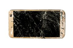 Smartphone with broken screen. Mobile smartphone with broken screen isolated on white background with clipping path stock images