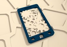 Mobile smartphone with cogs gears teamwork icon Royalty Free Stock Image