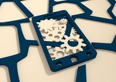 Mobile smartphone with cogs gears teamwork icon Royalty Free Stock Images