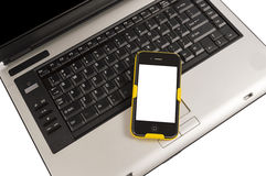 Mobile Smartphone On Computer Business Concept Stock Photo