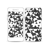 Mobile smartphone with an example of the screen and cover design. Triangular vector pattern. Abstract black triangles on Royalty Free Stock Photos