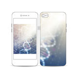 Mobile smartphone with an example of the screen and cover design  on white. DNA molecule structure. Science Stock Photos