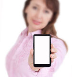 Mobile smartphone in female hand Stock Photo