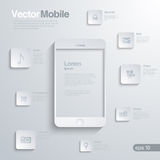 Mobile Smartphone with icon interface. Infographic Stock Photo