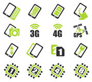 Mobile or smartphone specifications and functions. Mobile or cell phone, smartphone,  specifications and functions icons set Royalty Free Stock Photos