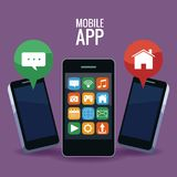 Mobile smartphones app. Icon vector illustration graphic design Stock Photos