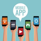 Mobile smartphones app. Icon vector illustration graphic design Royalty Free Stock Images
