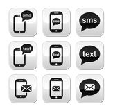 Mobile sms text message mail buttons set Stock Photo
