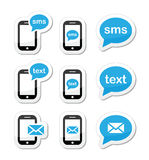 Mobile sms text message mail icons set as labels Stock Image