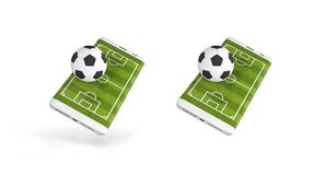 Mobile soccer. Football field on the smartphone screen and ball. Online ticket sales concept. 3d rendering.  Stock Image