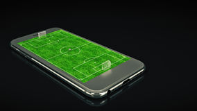 Mobile soccer. Football field on the smartphone screen and ball. Online ticket sales concept. 3d rendering Royalty Free Stock Photos