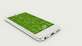 Mobile soccer. Football field on the smartphone screen and ball. Online ticket sales concept. 3d rendering Stock Images