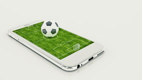 Mobile soccer. Football field on the smartphone screen and ball. Online ticket sales concept. 3d rendering Royalty Free Stock Photo