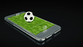 Mobile soccer. Football field on the smartphone screen and ball. Online ticket sales concept. 3d rendering Royalty Free Stock Images
