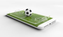 Mobile soccer. Football field on the smartphone screen and ball. Online ticket sales concept. 3d rendering.  royalty free stock photo