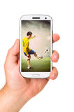 Mobile soccer Stock Image