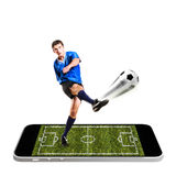Mobile soccer Stock Photography
