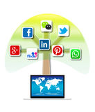 Mobile social media tree Stock Images