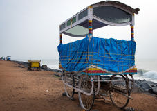 Mobile stalls along sandy beach in Pondicherry,. South India Royalty Free Stock Images