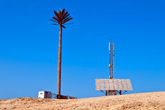 Mobile station in the desert, powered by solar pa Stock Image