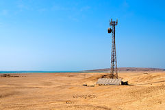 Mobile station in the desert, powered by solar pa Royalty Free Stock Photos