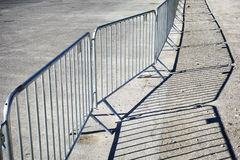 Mobile steel fence. At a barrier Royalty Free Stock Photos