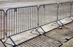 Mobile steel fence. At a barrier Stock Photo
