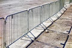 Mobile steel fence. At a barrier Stock Photography