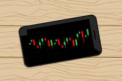 Mobile stock graph on wood table. Vector design for business Royalty Free Stock Images