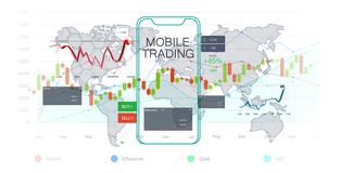 Mobile stock market. Investment trading vector illustration