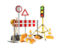 Mobile stoplight on the tripod  on the white. 3D rendered traffic light Stock Photos