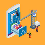 Mobile storage flat 3d isometric business technology server. Concept web vector illustration. Crane lowers a folder to the archive. Micro businessman put data vector illustration