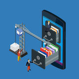 Mobile storage flat 3d isometric business technology server. Concept web vector illustration. Micro businessman put data folder into abstract data base server vector illustration