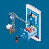 Mobile storage flat 3d isometric business technology server Royalty Free Stock Images