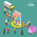 Mobile store flat isometric low poly vector concept. Royalty Free Stock Image
