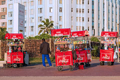 Mobile Street Vendor Carts on The Golden Mile promenade Stock Image