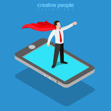Mobile superhero businessman hero phone flat vector isometric 3d Stock Images
