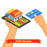 Mobile supermarket internet commerce concept Royalty Free Stock Image