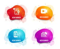 Mobile survey, Approved agreement and Video camera icons. Decreasing graph sign. Vector. Liquid badges. Set of Mobile survey, Approved agreement and Video camera royalty free illustration