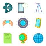 Mobile survey icons set, cartoon style. Mobile survey icons set. Cartoon set of 9 mobile survey vector icons for web isolated on white background Royalty Free Stock Image
