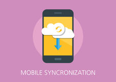 Mobile syncronization concept flat icon Royalty Free Stock Image