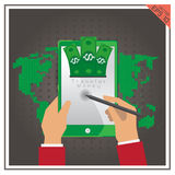 Mobile tablet icon phone banking transfer set online bank Stock Photo