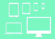 Mobile, tablet, notebook, computer flat icon set Stock Image